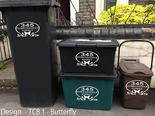Personalised wheelie bin stickers (for 3 bins)